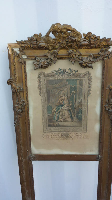 Marie Antoinette 18th Century Circa 1700s Mirror Frame and Picture Museum Qualit